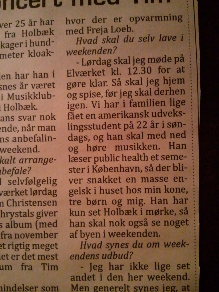 Newspaper clipping from Holbæk
